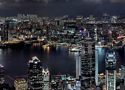 cityscapes, night, buildings, Hong Kong - desktop wallpaper