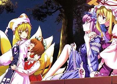 blondes, tails, video games, Touhou, dress, purple hair, animal ears, yellow eyes, Yakumo Yukari, Chen, Yakumo Ran, Saigyouji Yuyuko, anime girls - related desktop wallpaper