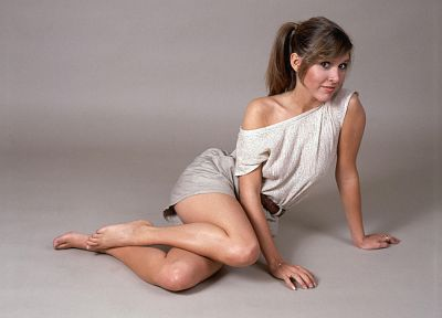 brunettes, legs, women, actress, celebrity, Carrie Fisher - random desktop wallpaper