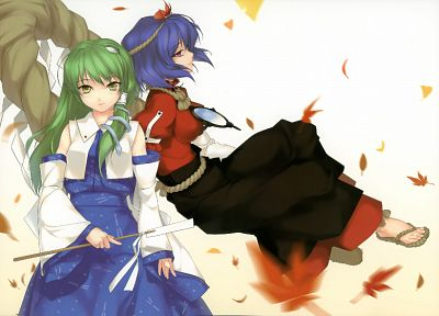 Touhou, leaves, skirts, long hair, snakes, blue hair, Goddess, Miko, red eyes, short hair, green hair, yellow eyes, Mountain of Faith, maple leaf, Kochiya Sanae, Yasaka Kanako, Japanese clothes, simple background, gohei, detached sleeves, ropes, white bac - related desktop wallpaper