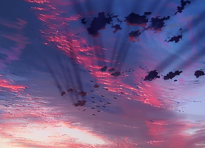 birds, illustrations, Makoto Shinkai, The Place Promised in Our Early Days, skyscapes, illuminated - random desktop wallpaper