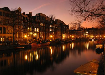 water, night, lights, architecture, houses, ships, Europe, Holland, Amsterdam, Dutch, vehicles, rivers, reflections, The Netherlands, cities - related desktop wallpaper