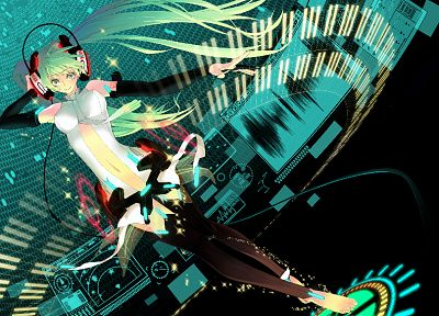 headphones, Vocaloid, gloves, Hatsune Miku, long hair, green eyes, barefoot, thigh highs, green hair, twintails, Miku Append, Vocaloid Append, detached sleeves - desktop wallpaper