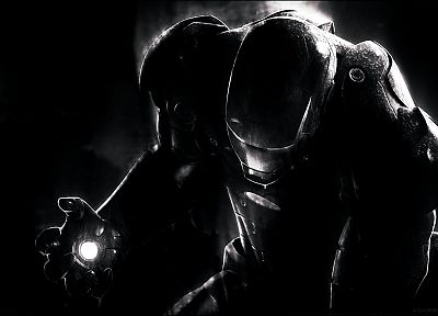 Iron Man, monochrome - desktop wallpaper