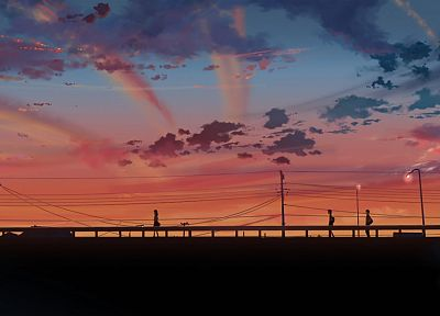 sunset, clouds, skylines, Makoto Shinkai, 5 Centimeters Per Second, skyscapes - related desktop wallpaper