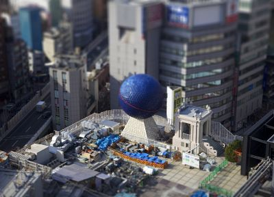 Japan, blue, cityscapes, balls, buildings, Osaka, tilt-shift - related desktop wallpaper