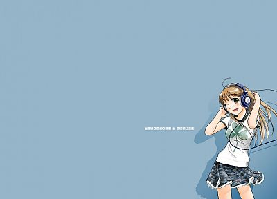 headphones, simple background, anime girls - desktop wallpaper
