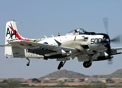 aircraft, military, Warbird, A-1 Skyraider, SPAD, fighters - desktop wallpaper