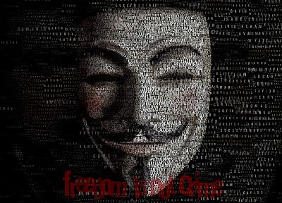 V for Vendetta, typographic portrait - random desktop wallpaper