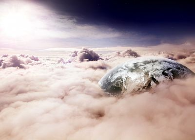 clouds, landscapes, nature, planets, skyscapes, photo manipulation - related desktop wallpaper