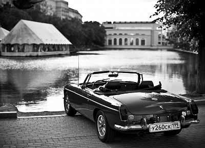 black, white, old, cars, monochrome, vehicles, lakes, greyscale, Russian - related desktop wallpaper
