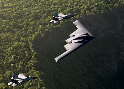 aircraft, bomber, F-22 Raptor, B-2 Spirit - random desktop wallpaper