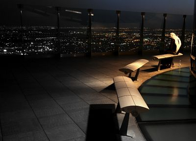 cityscapes, night, bench, panorama, Saudi Arabia, Riyadh, Al-Faisaliah Building, Arab - related desktop wallpaper
