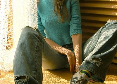 women, jeans, Met-Art magazine, Ukrainian, Vika AC, ripped jeans, sweaters - random desktop wallpaper