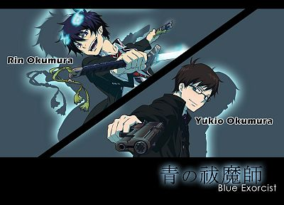 guns, anime, anime boys, Ao no Exorcist, Okumura Rin, Okumura Yukio, swords - random desktop wallpaper