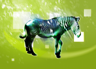 green, abstract, animals, zebras - desktop wallpaper