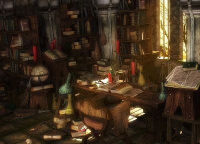 paper, books, globes, interior, bookshelf, candles, desk, Ognian Bonev - random desktop wallpaper