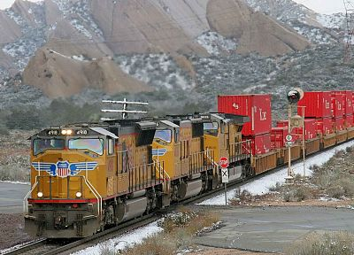 snow, trains, rocks, California - desktop wallpaper