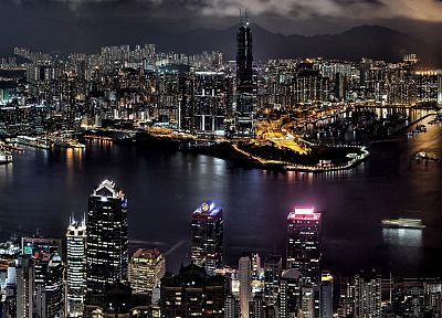 cityscapes, night, buildings, Hong Kong, cities - desktop wallpaper