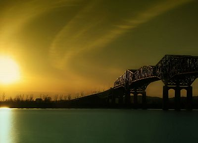 sunset, landscapes, Sun, bridges - random desktop wallpaper