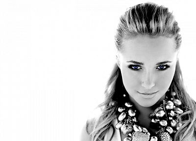 women, actress, Hayden Panettiere, celebrity, grayscale, monochrome, white background - desktop wallpaper