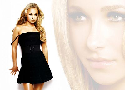 blondes, women, actress, Hayden Panettiere, celebrity, black dress, white background - desktop wallpaper