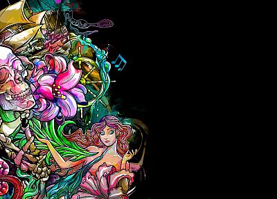 skulls, multicolor, ships, mermaids, vehicles, black background - related desktop wallpaper