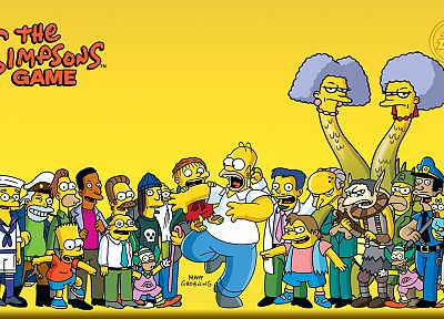 TV, Homer Simpson, The Simpsons, Bart Simpson, Lisa Simpson, Mr. Burns, Ned Flanders, Marge Simpson, Dr Nick, Ralph Wiggum, Krusty the Clown, Maggie Simpson, yellow background, Smithers, Moe Szyslak, Patty, Selma, Nelson - related desktop wallpaper