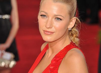 blondes, women, actress, Blake Lively, red dress - related desktop wallpaper