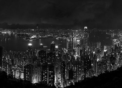 cityscapes, night, buildings, Hong Kong, grayscale - related desktop wallpaper