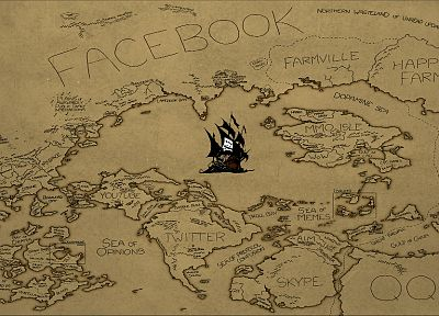 Internet, The Pirate Bay, maps - desktop wallpaper