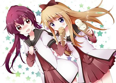 blondes, stars, ice cream, school uniforms, purple hair, seifuku, Toshinou Kyouko, Yuru Yuri, anime girls, Sugiura Ayano, sailor uniforms, hair bow, Mishima Kurone - desktop wallpaper