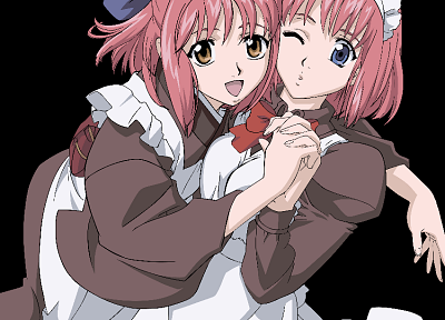 Tsukihime, maids, vectors, transparent, Kohaku, pink hair, Type-Moon, anime girls, Hisui, anime vectors - random desktop wallpaper