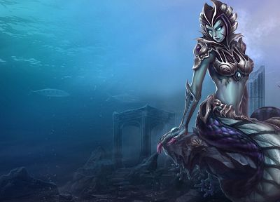 League of Legends, fantasy art, naga, mermaids, monster girls, Cassiopeia - random desktop wallpaper
