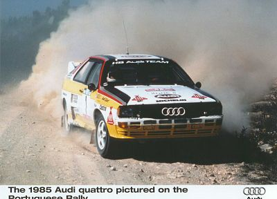 cars, Audi, dust, Portugal, vehicles, racing, WRC, Audi Quattro, races, Quattro, 1985, rally cars, World Rally Championship, gravel, German cars, racing cars, Group B rally, rally car - desktop wallpaper