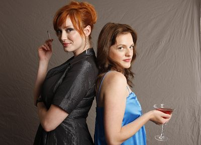 Christina Hendricks, Elisabeth Moss - random desktop wallpaper