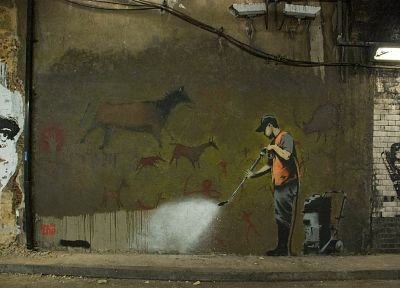 Banksy, street art - desktop wallpaper