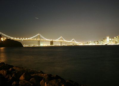 water, night, lights, bridges, San Francisco, Bay Bridge, Yerba Buena Island - related desktop wallpaper