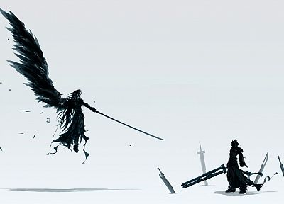 Final Fantasy, Sephiroth, Cloud Strife, simple background - desktop wallpaper