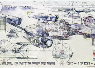 Star Trek, blueprints, USS Enterprise, Star Trek schematics - random desktop wallpaper