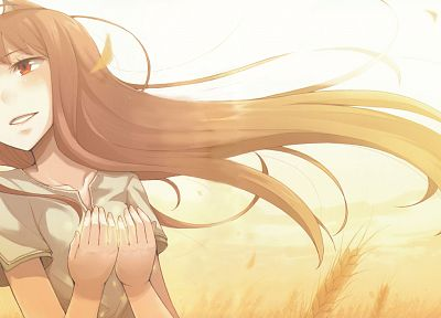 brunettes, Spice and Wolf, red eyes - random desktop wallpaper