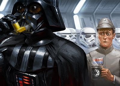 Star Wars, stormtroopers, Darth Vader, drawn - desktop wallpaper