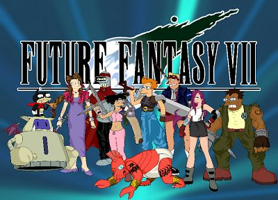 Futurama, Bender, Final Fantasy VII, Dr Zoidberg, Hermes, Amy Wong, Turanga Leela, Zapp Brannigan, crossovers, Philip J. Fry - related desktop wallpaper