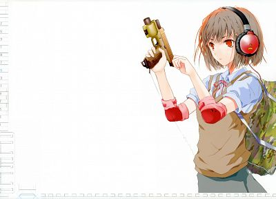 headphones, guns, school uniforms, Fuyuno Haruaki, simple background - related desktop wallpaper