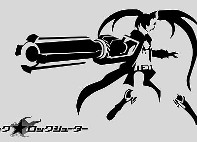 Black Rock Shooter, stencil, twintails, monochrome, anime - related desktop wallpaper