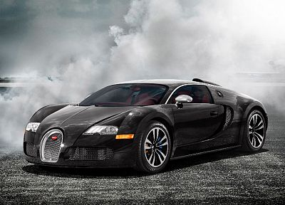 black, cars, smoke, mist, Bugatti Veyron, vehicles, supercars - random desktop wallpaper
