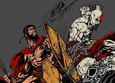 300 (movie), Leonidas, Kratos, God of War - related desktop wallpaper
