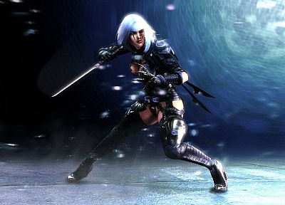 women, assassins, cyborgs, weapons, brown eyes, science fiction, white hair - desktop wallpaper