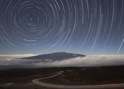 landscapes, night, stars, hills, roads, long exposure, star trails - related desktop wallpaper