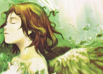wings, Haibane Renmei, closed eyes, anime girls - desktop wallpaper